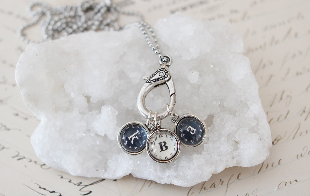 Tiny Clock Initials Necklace