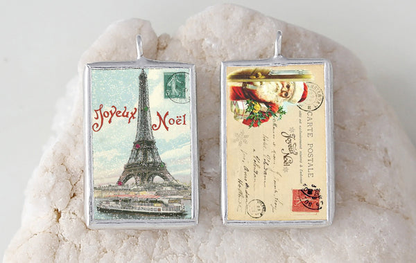 Eiffel Tower Christmas Soldered Art Charm Jewelry