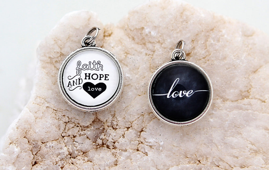 Faith Hope And Love Double Bubble Charm