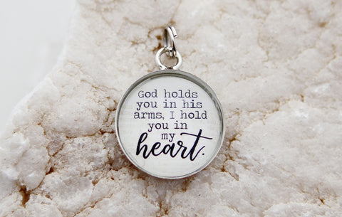 God Holds You In His Arms Bubble Charm