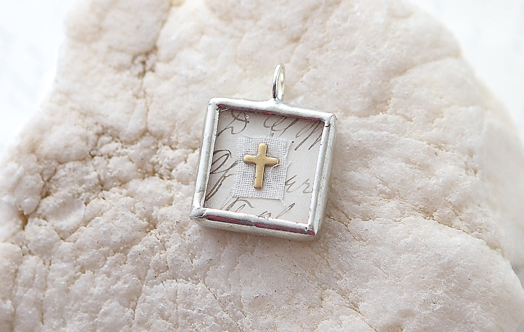 Shadowbox Gold Cross Soldered Charm
