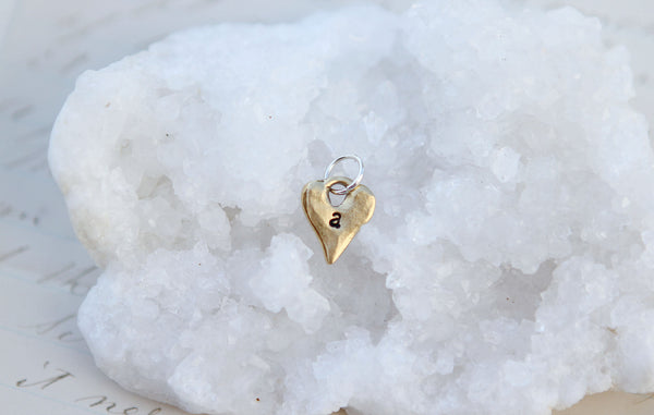 Tiny Gold Heart Initial