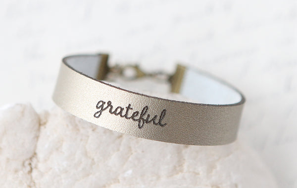 Grateful Leather Bracelet