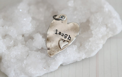 Hand Stamped Rustic Heart Laugh Charm