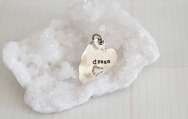 Hand Stamped Rustic Heart Dream Charm - Jennifer Dahl Designs