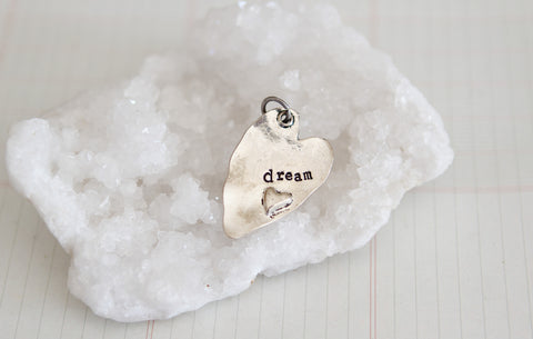 Hand Stamped Rustic Heart Dream Charm