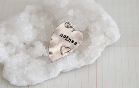Hand Stamped Rustic Heart Mother Charm