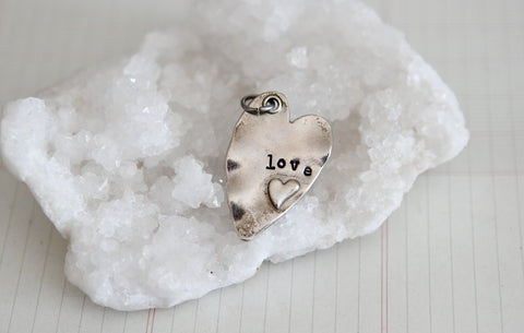 Hand Stamped Rustic Heart Love Charm