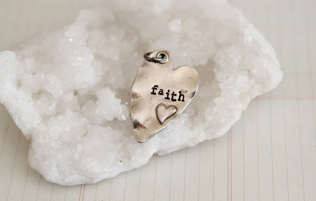 Hand Stamped Rustic Heart Faith Charm - Jennifer Dahl Designs