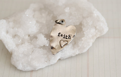 Hand Stamped Rustic Heart Faith Charm