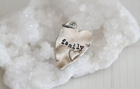 Hand Stamped Rustic Heart Family Charm