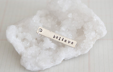 Hand Stamped Silver Rectangle Believe Charm