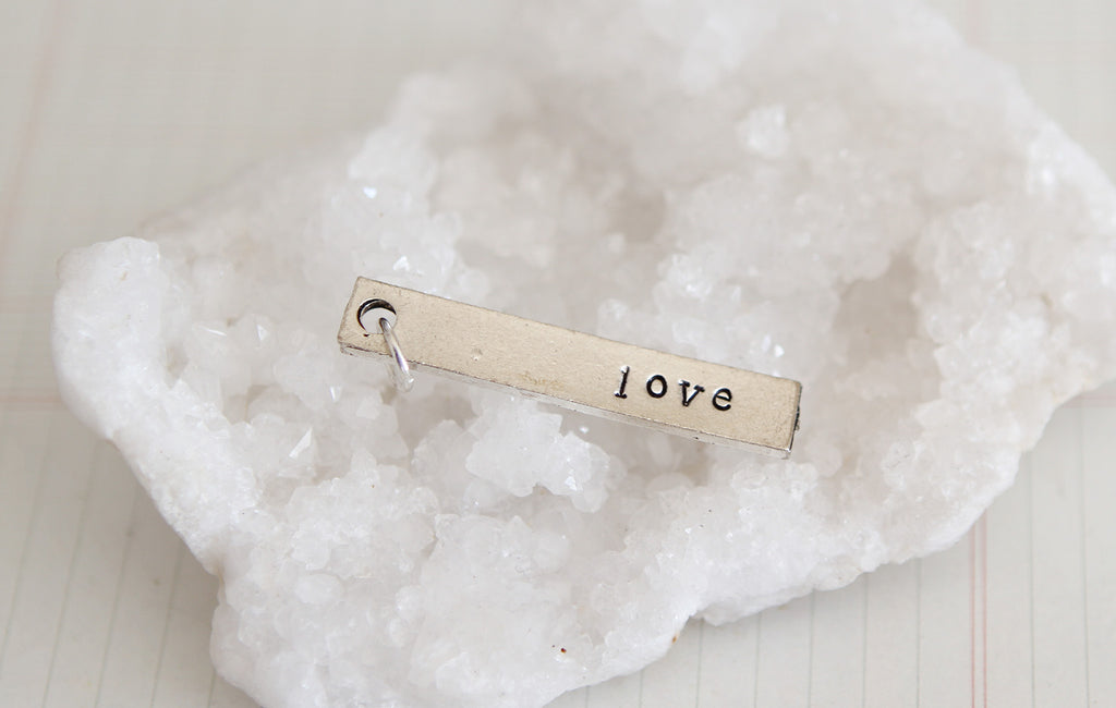 Hand Stamped Rectangle Love Charm - Jennifer Dahl Designs