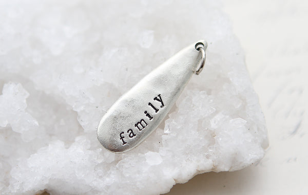 Hand Stamped Silver Teardrop Family Charm