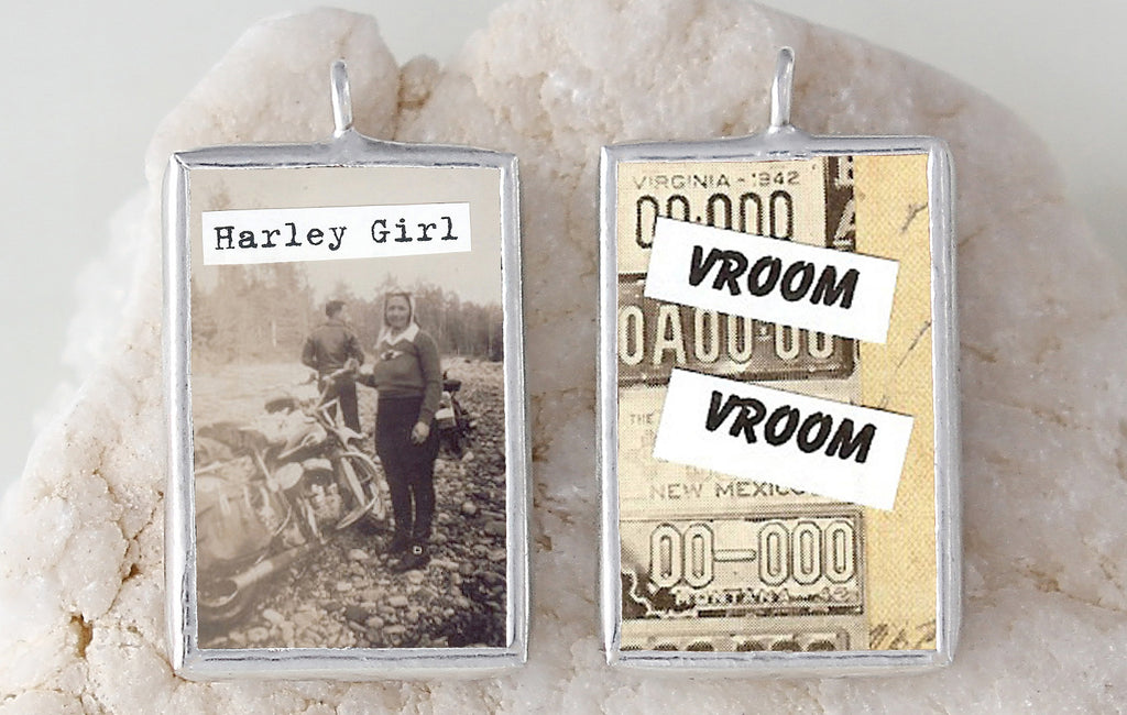 Harley Girl Soldered Art Charm