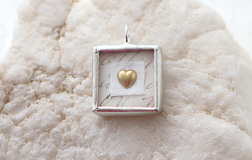 Shadowbox Gold Heart Soldered Charm