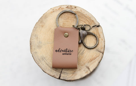 Adventure Awaits Engraved Leather Keychain