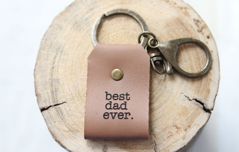 Best Dad Ever Engraved Leather Keychain