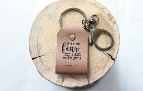 Do Not Fear Engraved Leather Keychain