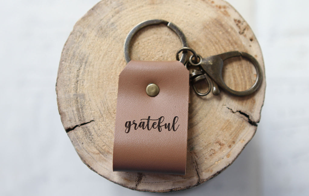 Grateful Engraved Leather Keychain