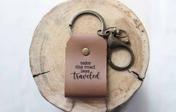 Take The Road Less Traveled Engraved Leather Keychain