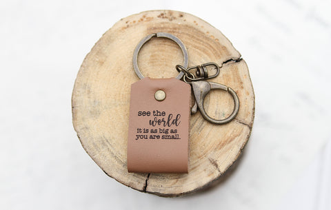See the World Engraved Leather Keychain