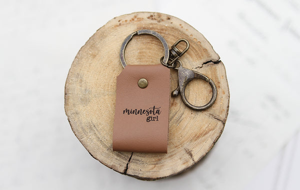 State Girl Engraved Leather Keychain