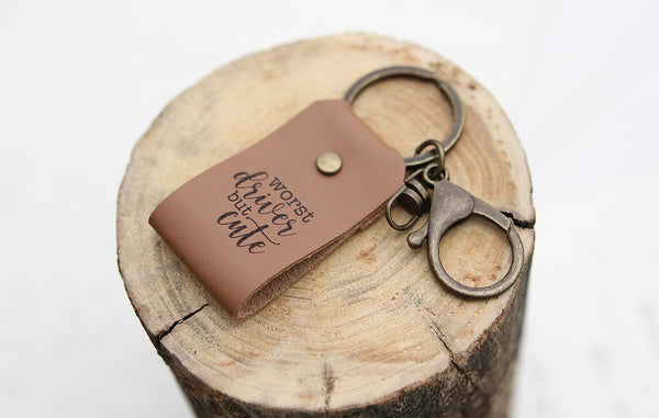 Worst Driver But Cute Engraved Leather Keychain
