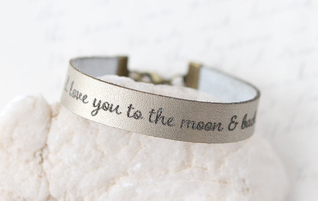 Love You to the Moon and Back Leather Bracelet