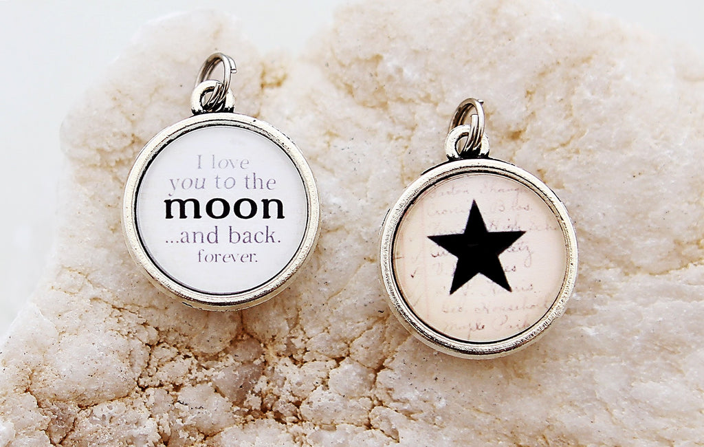 Love You To The Moon And Back Double Bubble Charm
