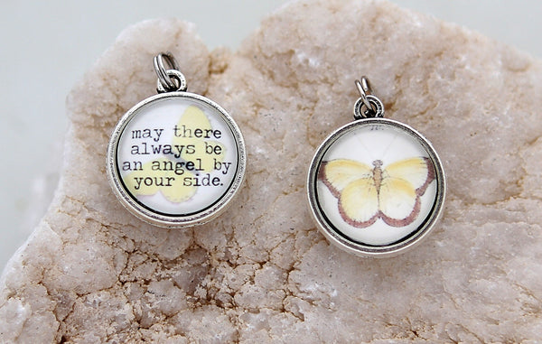 May There Always Be An Angel By Your Side Double Bubble Charm