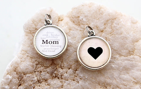 Mom Heart Double Bubble Charm