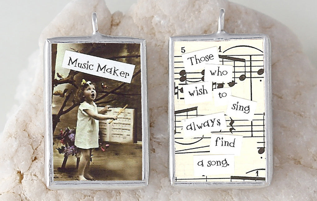 Music Maker Soldered Art Charm