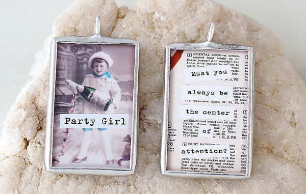 Party Girl Soldered Art Charm