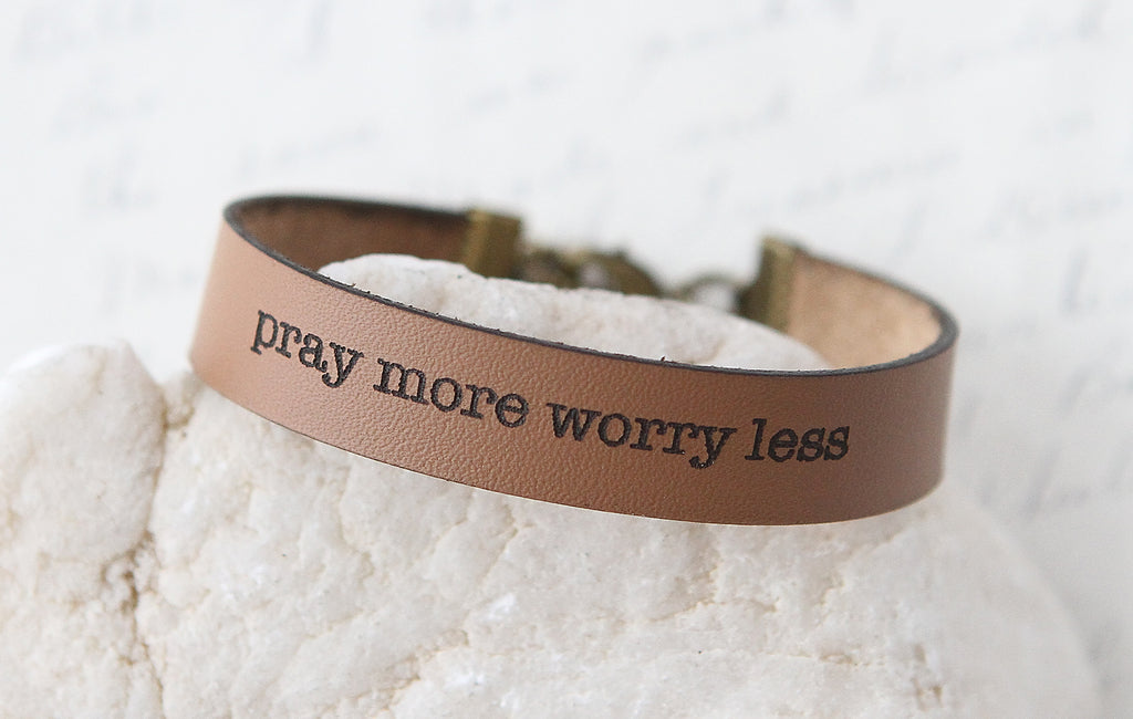 Pray More Worry Less Leather Bracelet