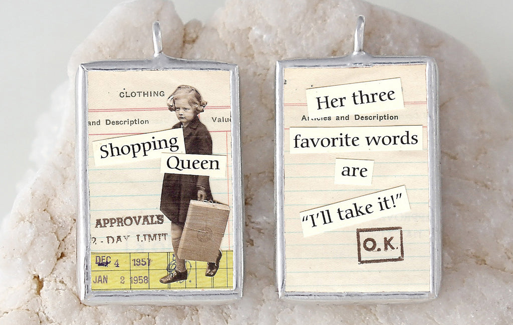 Shopping Queen Soldered Art Charm