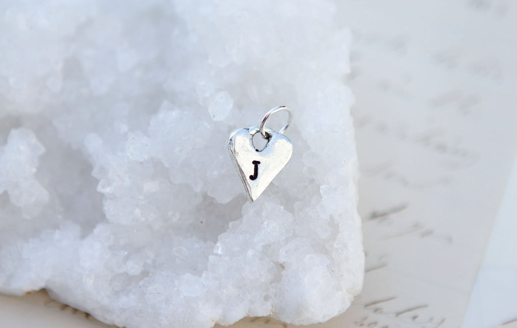 Tiny Silver Heart Initial