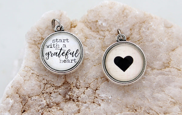 Start With A Grateful Heart Double Bubble Charm