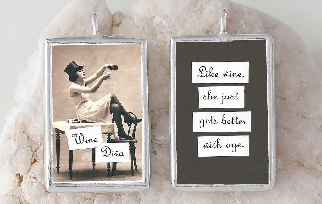 Wine Diva Soldered Art Charm