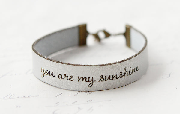 You Are My Sunshine Leather Bracelet