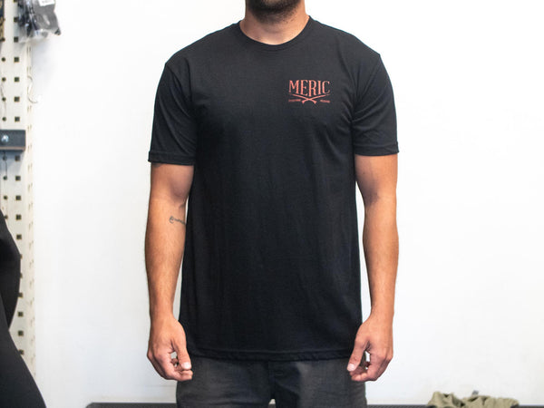 Short Sleeve Meric Tshirt Black and Red Live Free