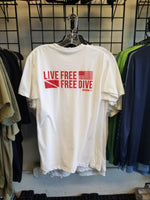 Short Sleeve Meric Tshirt White and Red Live Free