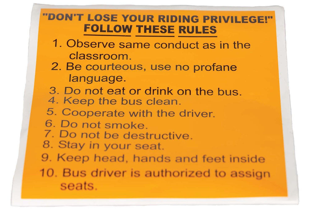 Decal, Bus Rules, Large