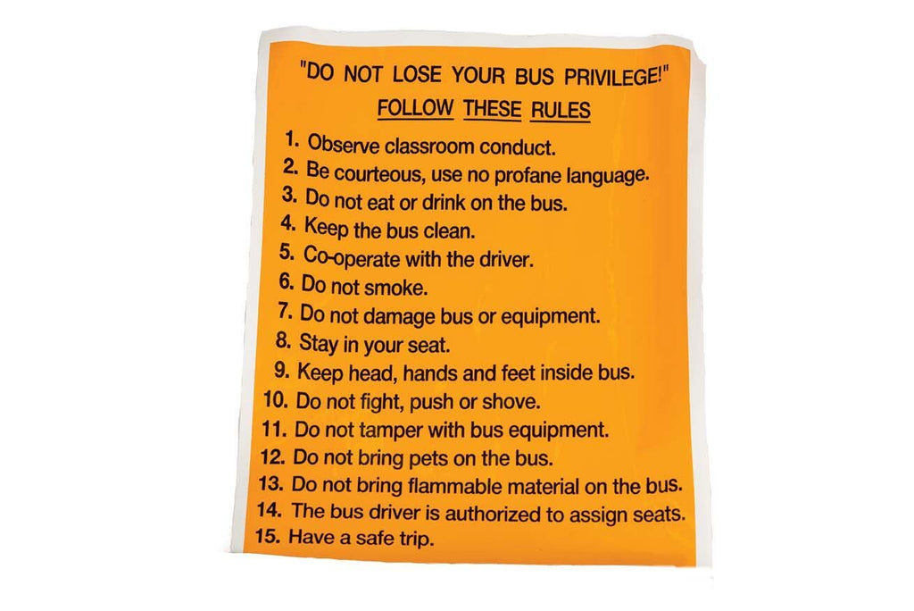 Decal, 15 Bus Rules, Black and Yellow, 8 1/2 X 11In
