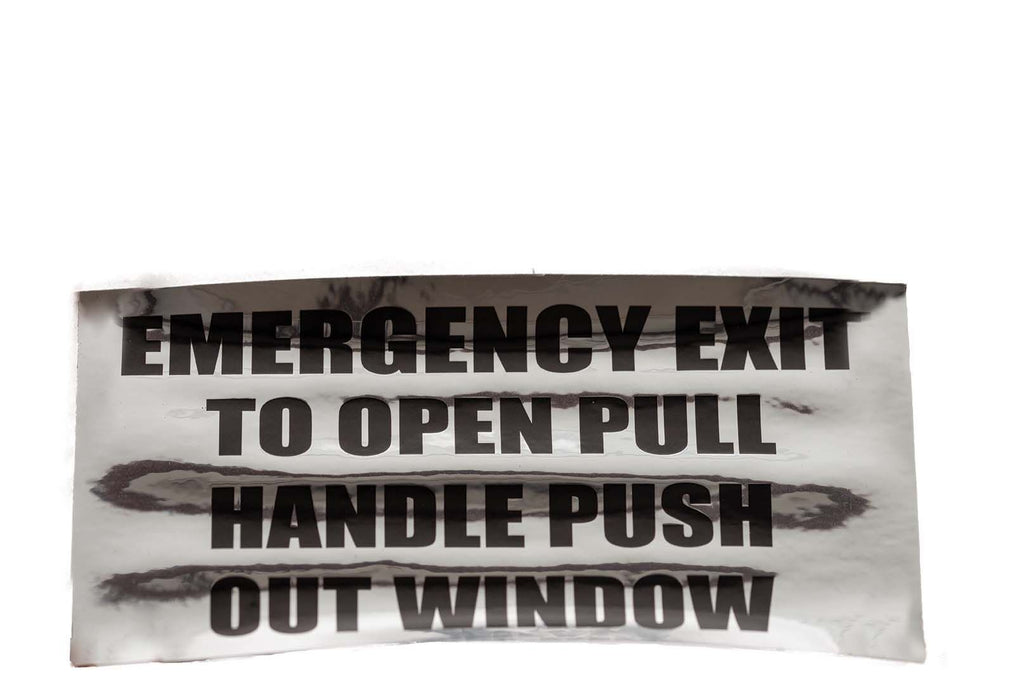 Decal, Emergency Exit Instructionon Window,  Black/Clear