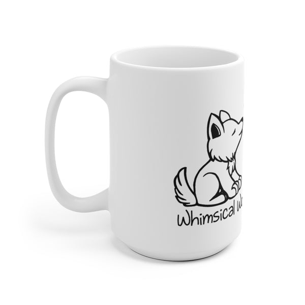 White Ceramic Mug - Whimsical Wolf