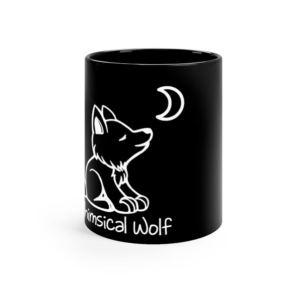 Black mug 11oz - Whimsical Wolf