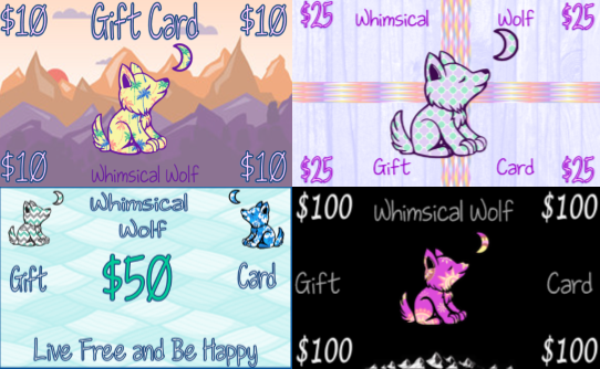 $10  Gift Card - Whimsical Wolf