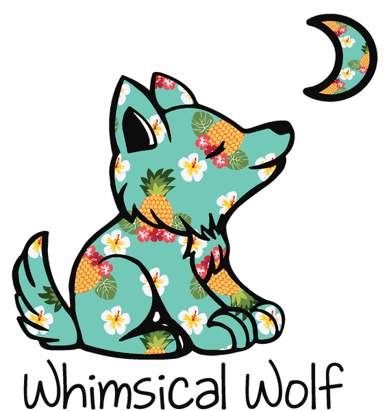 "Caribbean Pineapple Sticker 2.5"" x 2.5"" - Whimsical Wolf"