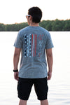 Snow Heather Gray Crew Neck with Red, White, and Navy Blue Patriotic Design - Whimsical Wolf